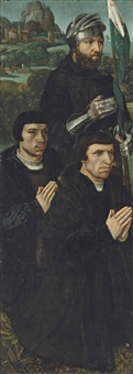 the left wing of a triptych: saint william of maleval with two kneeling donors by ambrosius benson