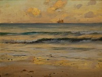 schooner at sunset by frank lewis emanuel