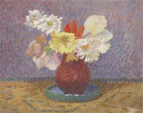 bouquet de fleurs dans un vase rond et rouge by henri jean guillaume martin