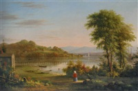 view of mt. merino from hudson, new york by henry ary