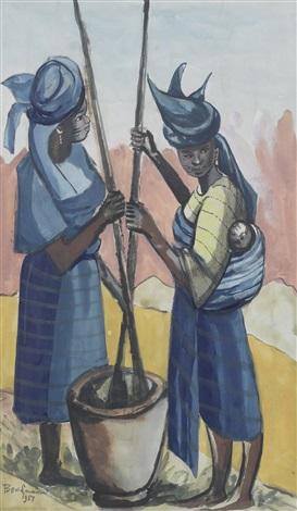 yoruba women pounding cassava by ben enwonwu