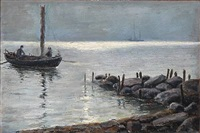 early morning with two fishermen on the way out by carl ludvig thilson locher