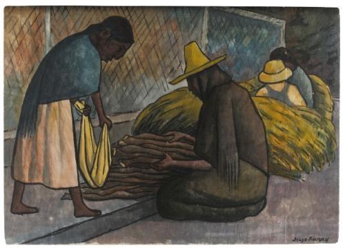 vendedora de leña en el mercado by diego rivera