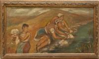 women washing garments in a river by francisco rodon