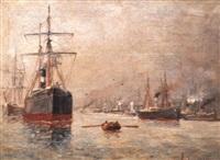 paquebot dans le port by albert jaboneau