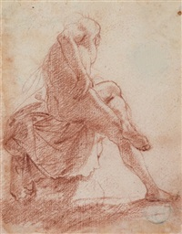 a seated male nude seen from behind by filippo d' angeli