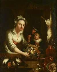 a lady with a fruit basket by gerrit dou
