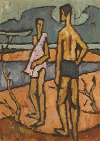 man and woman by the shore by desmond carrick
