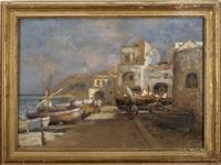 mediterranean harbor scene by prosper louis senat