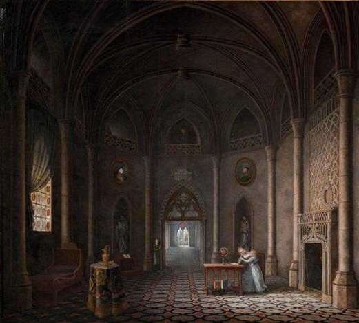 intérieur dun palais royal gothique avec une mère enseignant à sa fille by fleury francois richard