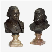bronze busts of george washington and benjamin franklin by jean-antoine houdon