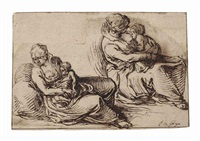 two studies of a woman breastfeeding her child by jacques de gheyn ii