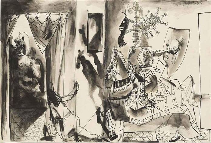 chevalier en armure page et femme nue by pablo picasso