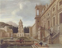 the courtyard of a fantastical palace with figures gathered around a fountain