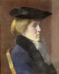 portrait of a lady in black hat by bozena kadlecová