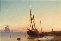 coastal scene with sailing boats at sunrise by carl ludwig bille