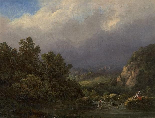 landschaft mit angler by johann bernard klombeck