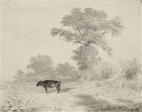 paysage avec un boeuf by newton (smith limbird) fielding
