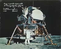 buzz aldrin unpacks experiments at tranquility base by neil armstrong