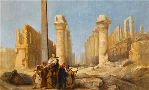 a gentleman on the grand tour inspecting the ruins at karnak by jacob jacobs