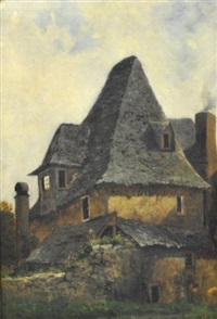 thatched roof cottage by william henry hilliard