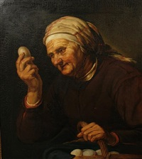 an elderly lady holding a basket of eggs (after hendrick bloemaert) by willem sted