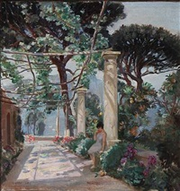 view of capri with a woman under a pergola by carl forup