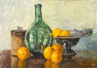 still life with oranges and green bottle by marshall c. hutson