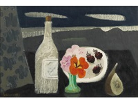 still life with bottle and raspberries by mary fedden