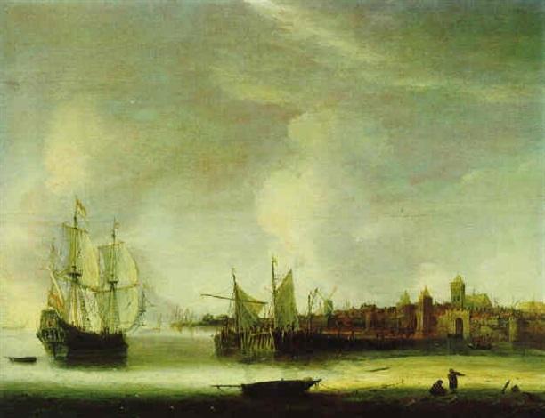 ankernde schiffe und fischerboote bei ruhiger see vor einer ummauerten hafenstadt by hendrick van anthonissen