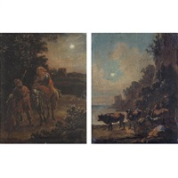 the flight into eygpt (+ drovers watering their animals in a moonlit landscape; pair) by adam de colonia