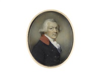 a gentleman, wearing blue coat with scarlet collar, white chemise, stock and lace cravat, his hair powdered by philip jean