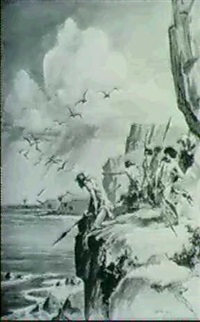 sketch for book illo. warriors with spears arrivingt at edgeof cliff. sketch for the great water by roy krenkel