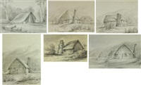 russels cottage..., original cottages..., huts of the first settlers..., settler's cottage..., settlers cottage... and settler's cottage... (suite of 6) by william swainson