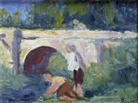 les lavandières près du pont de pierre by maximilien luce