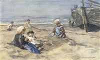 children on the beach by johannes evert hendrik akkeringa