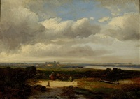 figures in a wide landscape with in the distance a city by hermanus jan hendrik rijkelijkhuysen