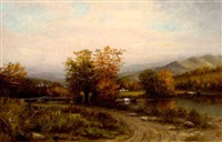 pastoral landscape with autumn foliage and distant village by american school-hudson river (20)