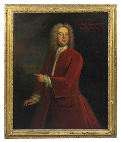 portrait of philip bartholomew in a red coat and white stock, standing in a landscape, pointing to a church beyond by john wollaston