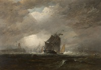 swansea harbor, ship in stormy waters by edward duncan