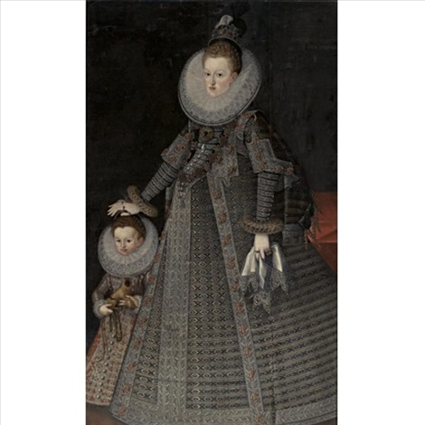 portrait of margaret of austria queen of spain and portugal and a child by bartolomé gonzalez
