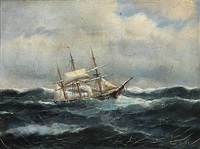 seascape with a sailing ships in high waves by carl ludwig bille