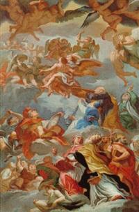 die kirchenväter mit musizierenden engelen by vito d' anna
