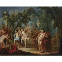 a bacchanal in a forest landscape with dancing nymphs and satyrs playing the horns by johann heinrich keller