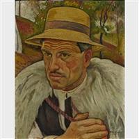 neighbour of the artist at sighet, romania (yellow hat) by traian biltiu dancus
