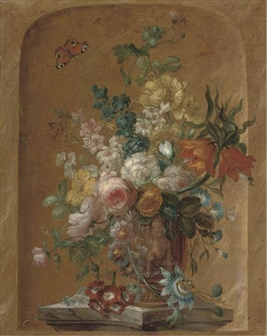 roses, lilies, morning glory, clematis and other flowers in a sulpted urn on a stone plinth, in a casement by jan frans van dael
