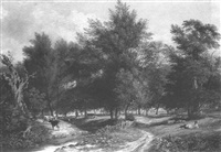 a shepherd resting by a track in a wooded river landscape by charles ward