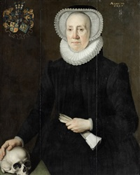 portrait of an elderly lady of the van heemstra family of friesland, three-quarter-length, holding a pair of gloves and with her right hand resting on a skull by willem key