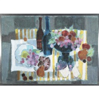nappe rayee (still life with wine bottles) by jacqueline andrieu