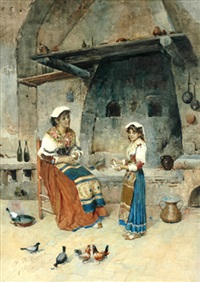 italian woman winding wool by publio de tommasi